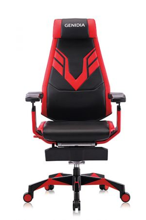 Ergonomic gaming chair front view red