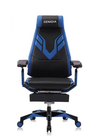Front view of genidia ergonomic gaming chair in blue