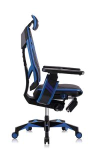 Right side view of Genidia ergonomic esports chair in blue